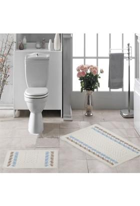 Zeria Home Bordür Pamuklu Klozet Takımı Banyo Paspası Bej-Mavi