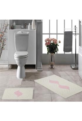 Zeria Home Dalga Pamuklu Klozet Takımı Banyo Paspası Pembe