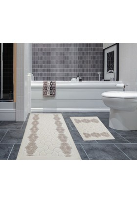 Zeria Home Mozaik Pamuklu Klozet Takımı Banyo Paspası Bej