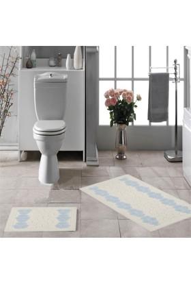 Zeria Home Mozaik Pamuklu Klozet Takımı Banyo Paspası Mavi