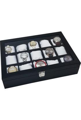 Chavin 15'li Siyah Diamond Deri Ahşap ,Camlı Saat Kutusu st15-27
