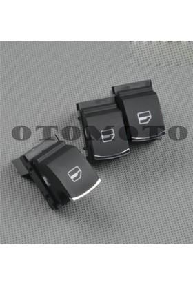 Oem Volkswagen Tiguan 2008-2012 Sol Tekli Cam Düğmesi Krom