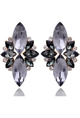 Myfavori Yeni Zarif Kristal Siyah Küpe Opal Taşlı Saplama En Şık Küpe Modelleri