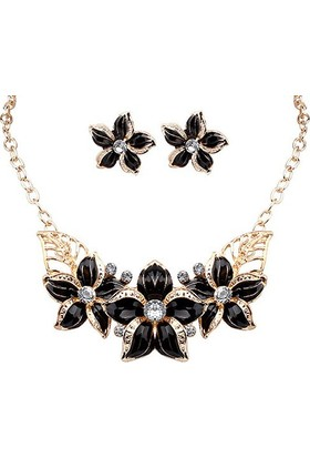 Myfavori Siyah Çiçek Kolye Küpe Takı Seti Moda 2017 Bayan Takı Aksesuar