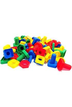 HIQTOYS Eğitici Öğretici Geometrik Cıvata Somun Şeklinde 54 Parça Yapı İnşa Oyun Çocuk Lego Seti Oyunu Eğitsel Oyuncak Setleri