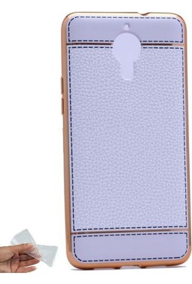 Teleplus General Mobile GM 5 Plus Deri Dikişli Lazer Silikon Kılıf