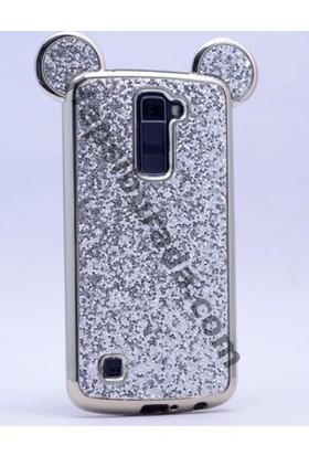 Case 4U LG K10 Mickey Simli ve Taşlı Kulaklı Kılıf Gümüş Gri