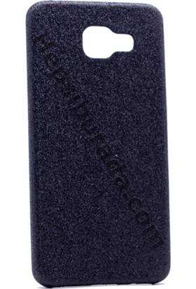 Case 4U Samsung A510 Galaxy A5 Deri Görünümlü Simli Arka Kapak Siyah