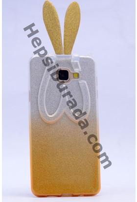 Case 4U Samsung A510 Galaxy A5 Simli Tavşan Kulaklı Silikon Kılıf Sarı
