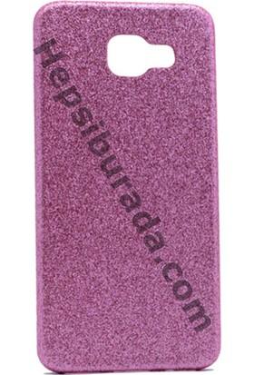 Case 4U Samsung A710 Galaxy A7 Deri Görünümlü Simli Arka Kapak Pembe