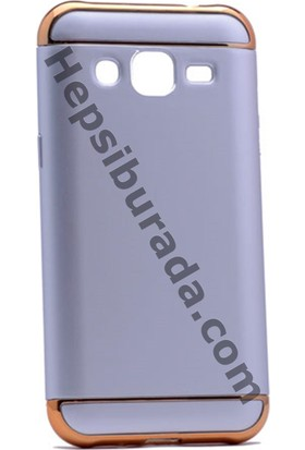Case 4U Samsung Galaxy J2 3 Parçalı Rubber Kapak Gümüş Gri - Altın Çerçeveli