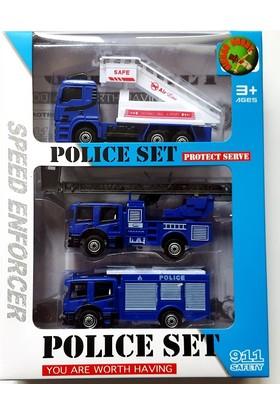 Toy Car Polis Araç Seti 3 Adet Çek Bırak Araç Set 2