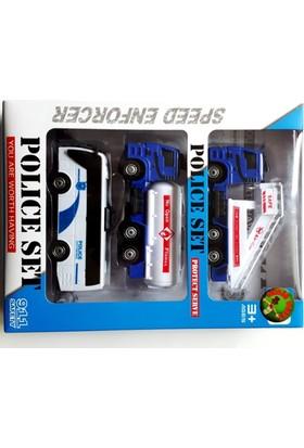 Toy Car Polis Araç Seti 3 Adet Çek Bırak Araç Set 4