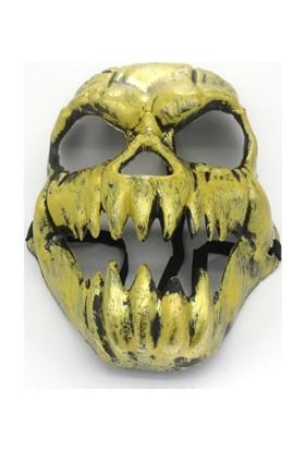 Partistok Halloween Kafatası Maskesi Altın