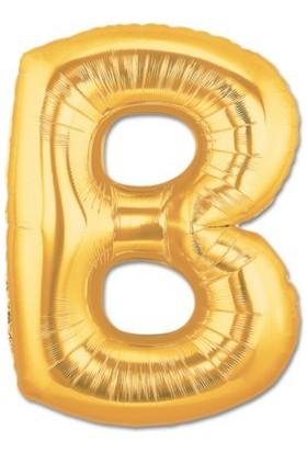 Partistok B Harf Folyo Balon Altın