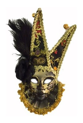 Partistok Tüylü Dekoratif Seramaik Maske Siyah