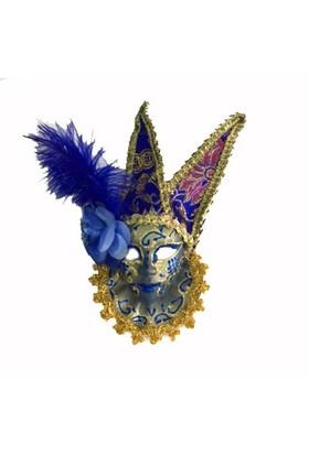 Partistok Tüylü Dekoratif Seramaik Maske Mavi