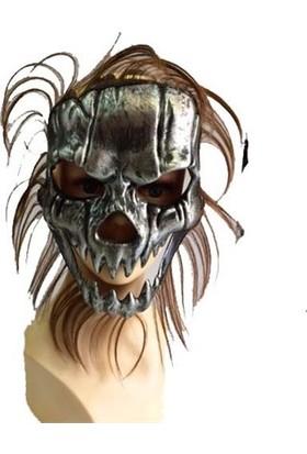 Partistok Cadılar Bayramı Kurukafa Maskesi Kahverengi