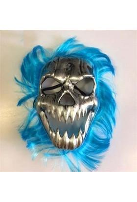 Partistok Cadılar Bayramı Kurukafa Maskesi Mavi Saçlı