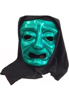 Partistok Pelerinli Ağlayan Surat Maskesi Yeşil