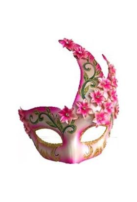 Partistok Çiçekli Harem Maskesi Pembe