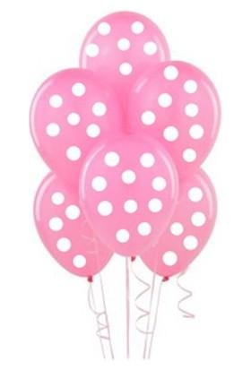 Partistok Pembe Üzerine Beyaz Puanlı Balon 25 Adet