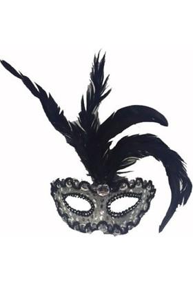 Partistok Tüylü Venedik Parti Maskesi Gümüş