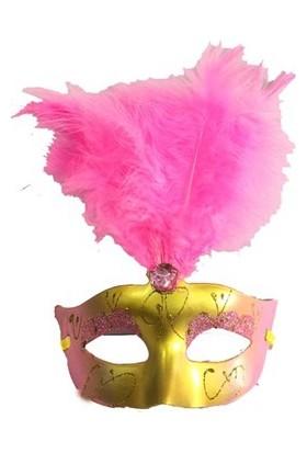Partistok Tüylü Venedik Maskesi Pembe