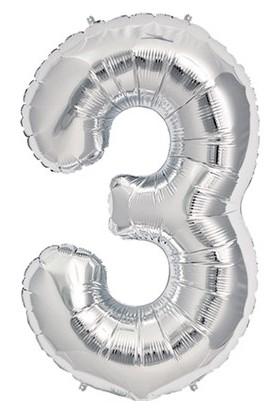 Partistok 3 Rakamlı Folyo Balon Gümüş