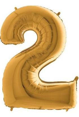 Partistok 2 Rakamlı Folyo Balon Altın