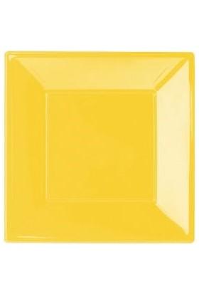 Partistok Sarı Küçük Plastik Kare Tabak 8'li