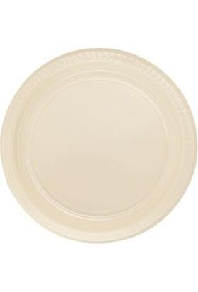 Partistok Krem Plastik Parti Tabağı 22 Cm 25 Adet