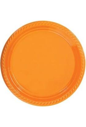 Partistok Turuncu Plastik Parti Tabağı 22 Cm 10 Adet