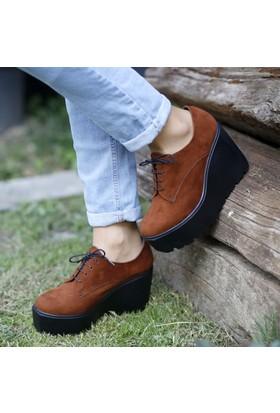 İnce Topuk Taba Süet Dolgu Topuk Ayakkabı