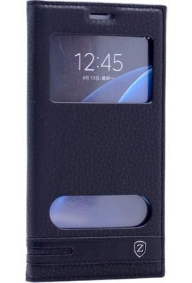 Kny Samsung Galaxy On7 Kılıf Mıknatıslı Pencereli +Cam