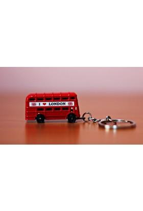 Kayıkcı I Love London Kırmızı Otobüs Anahtarlık - Londra Otobüsü Metal Anahtarlık 3D