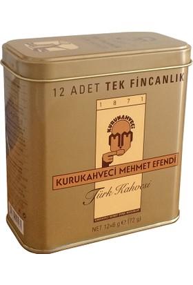 Mehmet Efendi Kurukahveci 12 Adet Tek Kullanımlık Kahve Teneke Kutu