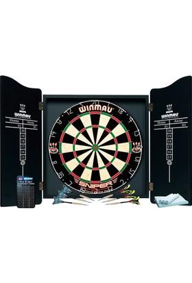 Winmau Profesyonel Dart Seti (Winmau Sniper Dart Tahtası, 6 Adet Winmau Ok, Winmau Ahşap Kabin)
