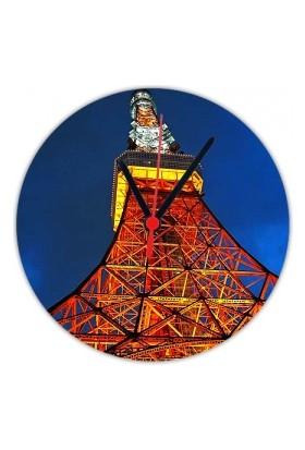 Fotografyabaskı Tokyo Kulesi Tokyo 20 Cm Yuvarlak Hdf Saat Baskı