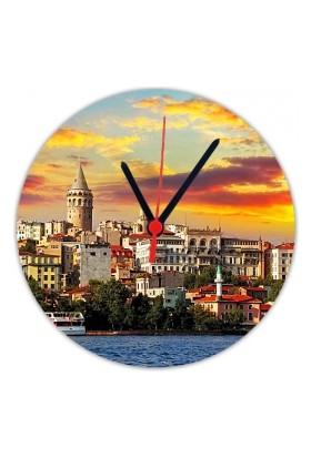 Fotografyabaskı Galata Kulesi İstanbul 20 Cm Yuvarlak Hdf Saat Baskı