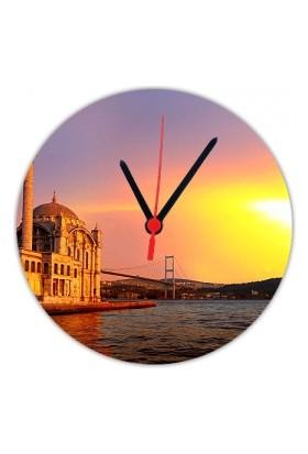 Fotografyabaskı Ortaköy İstanbul 20 Cm Yuvarlak Hdf Saat Baskı