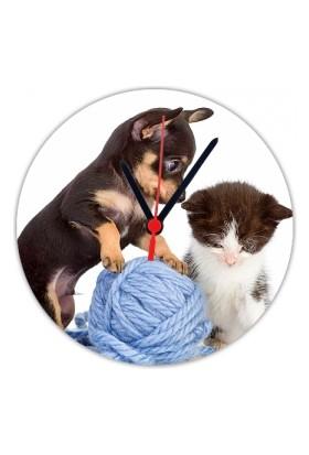 Fotografyabaskı Yavru Kedi Ve Köpek 20 Cm Yuvarlak Hdf Saat Baskı