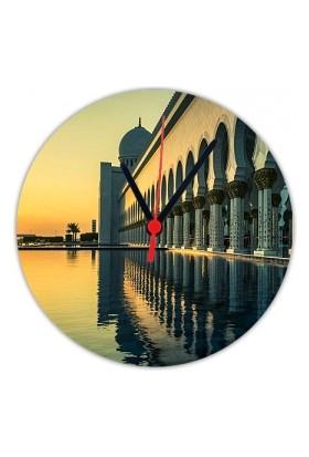 Fotografyabaskı Camii Abu Dhabi 20 Cm Yuvarlak Hdf Saat Baskı