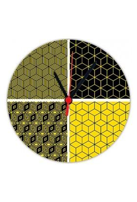 Fotografyabaskı Geometrik Şekiller 20 Cm Yuvarlak Hdf Saat Baskı