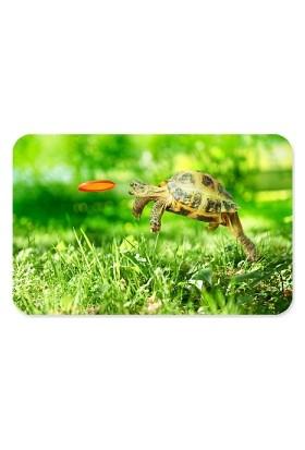 Fotografyabaskı Zıplayan Ve Firizbi Yakalayan Kaplumbağa Dikdörtgen Mouse Pad