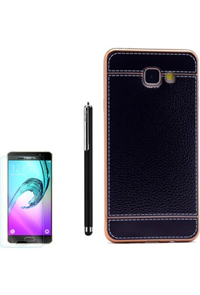 Gpack Samsung Galaxy C7 Kılıf Lazer Deri Silikon + Kalem + Cam