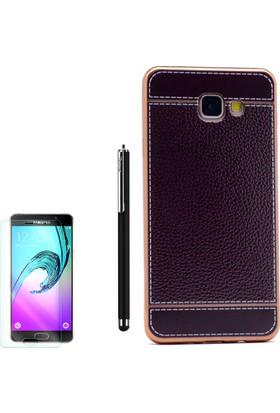 Gpack Samsung Galaxy A7 2016 Kılıf Lazer Deri Silikon + Kalem + Cam