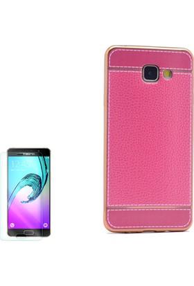 Gpack Samsung Galaxy C5 Kılıf Lazer Deri Silikon + Cam
