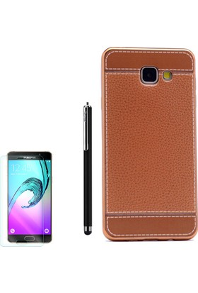 Gpack Samsung Galaxy C5 Kılıf Lazer Deri Silikon + Kalem + Cam