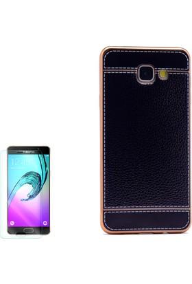 Gpack Samsung Galaxy C7 Kılıf Lazer Deri Silikon + Cam